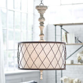 Regina Andrew Gesso Wood Spindle Chandelier