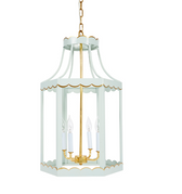 "ALYS WYTHE BLUE & GOLD SCALLOPED LANTERN, 16""DIA X 27.5""H"