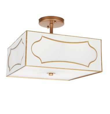 "GLOSS WHITE & GOLD SAN SIMEON CEILING MOUNT FIXTURE, 14""SQ X 11""H"