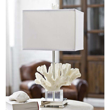 Regina Andrew Coral and Crystal on Chrome Base Table Lamp