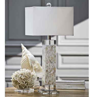 Regina Andrew Diamond Mother of Pearl Column Lamp