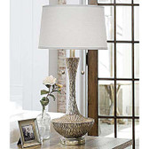 Regina Andrew Embossed Silver Vessel Table Lamp
