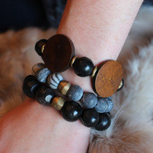 It is all about the STATEMENT this season, enjoy this three pack of bracelets go minimal or max out your wristwear. Stone. Brass. Stretch Bracelet. Olive Wood. 7inches.