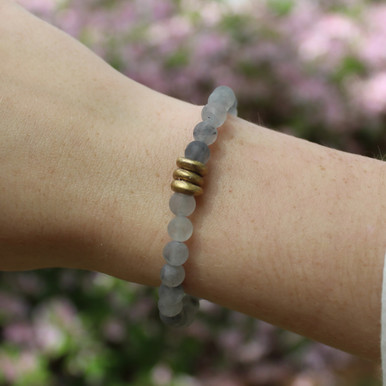 Skinny Smoky Quartz (Cleansing with Good Vibes) Stone Bracelet. Hand-molded Brass Accent Bead for natural good. Stretch Bracelet. 7 inches.