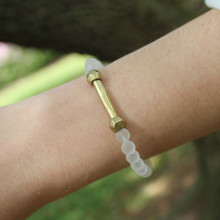 Skinny Clear Quartz (amplifying clarity) Stone Bracelet. Hand-molded Brass Accent Bead for natural good. Stretch Bracelet. 7 inches.