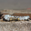 Moonstone Bracelet (daily cleansing and clarity). Handmolded Brass Accent for natural good. Stretch Bracelet. 7 inches
