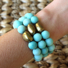 It is all about the STATEMENT, go BOLD with BRYN+MCKENNA's personal growth bracelets in Jade. Jade Stone=Positive. Brass=Natural Good. Brass Bead Shape=Personal Growth. Stretch Bracelet. 7inches.
