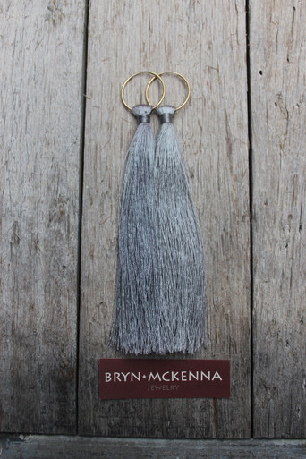 So Long and so FUN! The Modernized Bohemian will love these fun tassels attached to small endless hoops. Gold Filled Hoops. Rayon Tassels/Length/6 inches.