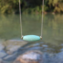 Green Stone Necklace - A fresh look for every season wear alone or layer. Gold filled chain 20 inches. Stone.