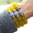 It is all about the STATEMENT this season, enjoy this three pack of bracelets go minimal or max out your wristwear. Ghana Glass/Stone. Brass. Stretch Bracelet. 7inches.
