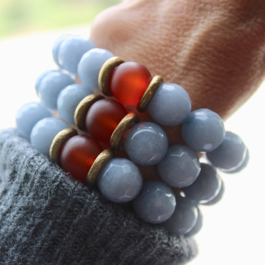 It is all about the STATEMENT this season, enjoy this three pack of bracelets go minimal or max out your wristwear. Stone. Brass. Stretch Bracelet. 7inches.