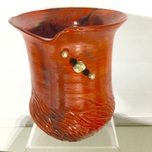 Red tall beaded Raku pot