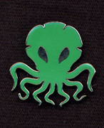 Green Cthulhu lapel pin