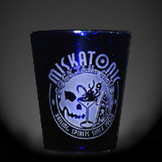 Miskatonic Cocktail Club blue shot glass