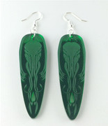 Cthulhu Earrings- green mirrored acrylic