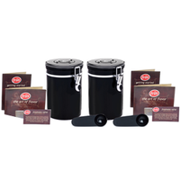 Coffee Vault - Black 16oz - 2-pack - Coffee Storage Canister