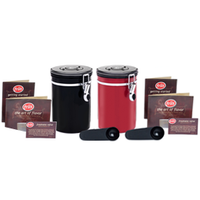 Coffee Vault - Black & Red 16oz - 2-pack - Canister Bundle