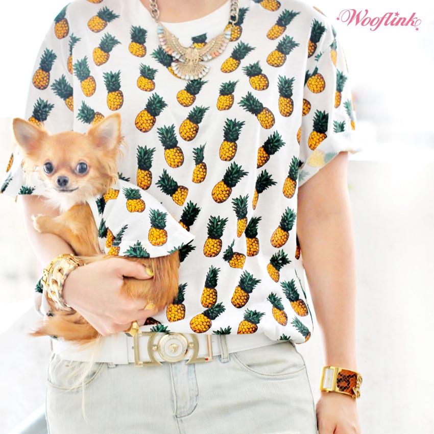 パイナップル柄Tシャツの犬用とオーナー用
