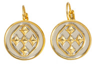 18K Gold and Rhodium plated Linked Medallion Small Coin Earring -