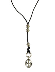"18"" Adjustable Black Leather Lariat Necklace with Matte Silver Shield of Faith"