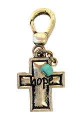 3/4' Cross Charm with Ox Finish- Hope