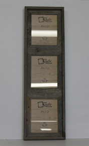 8x10 Rustic Reclaimed Barn Wood Vertical Triple Opening Frame