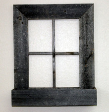 Rustic Reclaimed Barn Wood Window Frame with Flower Box