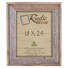 "18x24 Premium (4"") Rustic Reclaimed Barn Wood Wall Frame"