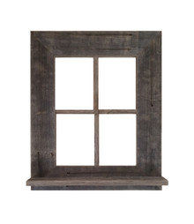 Rustic Barn Wood Window Frame With Shelf