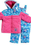 Rugged Bear Infant Girls 2-Piece Bib Snowsuit Pink/Blue Floral Print