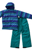 Columbia Girls 7-16 Horizon Ride Waterproof 2-Piece Ski Bib Snowsuit Zigzag Print