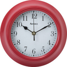 "9"" Plastic Wall Clock Red Glass Lens"
