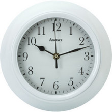"9"" Plastic Wall Clock White Glass Lens"
