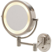 "8"" Wall Mount Lighted Mirror-Nickel`"