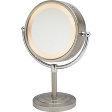 "8 1/2"" Table Top Lighted Mirror, Nickel"