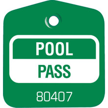 Recreational Pool Pass, Green Package Of 100