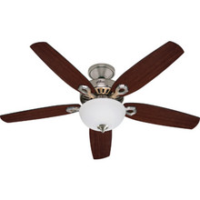 "Hunter Builder Plus 52"" Ceiling Fan Brushed Nickel White Glass Bowl Light Kit"