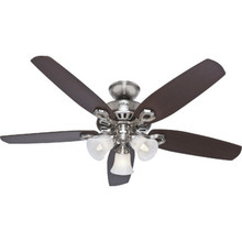 "Hunter Builder Plus 52"" Dual-Mount Ceiling Fan Brushed Nickel Swirled Light Kit"