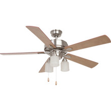 "Seasons 52"" Ceiling Fan With Adjustable Down Light Brushed Nickel"
