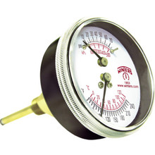 """Winters 2-1/2"""" Dial Tridicator 0-75 PSI 30-240F Center Back Extended Mount"""