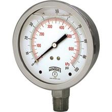 "Winters 2-1/2"" Glycerin Filled Dial 0-100 PSI Pressure Gauge Bottom Mount"