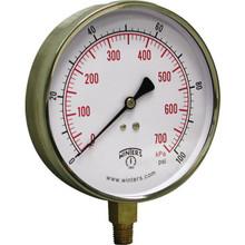 "Winters 4-1/2"" Dial 0-100 PSI Contractor Gauge With Bottom Mount"