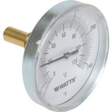 "Watts 3"" Dial 32-248F Temperature Gauge With Center Back Mount"