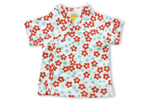 Kumquat - Red Blossoms Short Sleeve Kimono Top