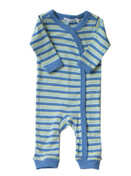 Under the Nile:  Organic Union Suit in Hippo Stripe