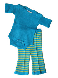Picaflor:  Knit Pant & Bodysuit in Turquoise