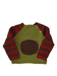 Kiwi:  Hand Knit Olive, Red & Brown Circle Pullover