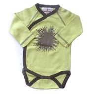 Speesees:  Dandelion Long Sleeve Kimono Onesie in Pollen