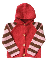 Kiwi:  Hand Knit Cardigan in Pink & Cocoa, front