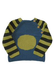 Kiwi:  Organic Olive and Blue Circle Pullover